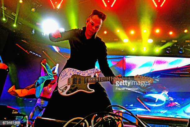 Musician Luke Steele of Empire of the Sunperforms in the Sahara Tent during day 3 of the 2017 Coachella Valley Music Arts Festival