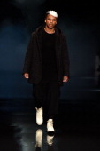 Musician Lupe Fiasco walks the runway at the Song For The Mute show during MercedesBenz Fashion Week Australia 2014 at Carriageworks on April 10 2014...