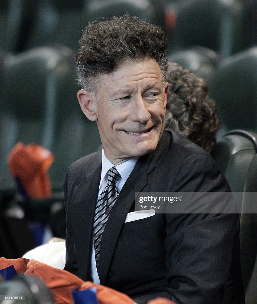 Musician Lyle Lovett smiles before singing the national anthem as the Houston Astros play the Texas Rangers on Opening Day at Minute Maid Park on March 31, 2013 in Houston, Texas.