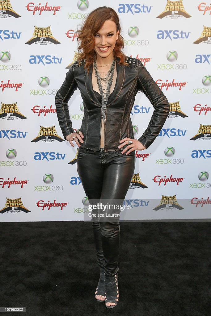 Musician Lzzy Hale of Halestorm arrives at the 5th Annual Revolver Golden Gods awards show at Club Nokia on May 2, 2013 in Los Angeles, California.
