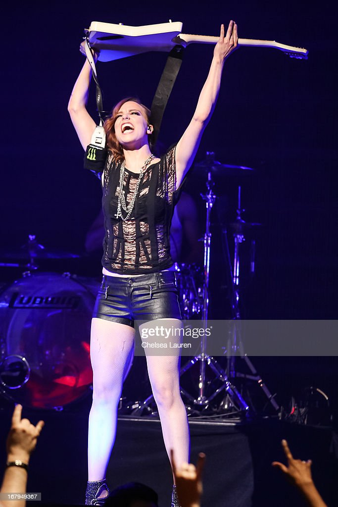 Musician <a gi-track='captionPersonalityLinkClicked' href=/galleries/search?phrase=Lzzy+Hale&family=editorial&specificpeople=5718929 ng-click='$event.stopPropagation()'>Lzzy Hale</a> of Halestorm performs at the 5th annual Revolver Golden Gods award show at Club Nokia on May 2, 2013 in Los Angeles, California.