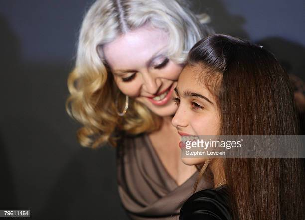 Musician Madonna and her daughter Lourdes Maria Ciccone Leon attend a reception to benefit UNICEF hosted by Gucci during MercedesBenz Fashion Week...