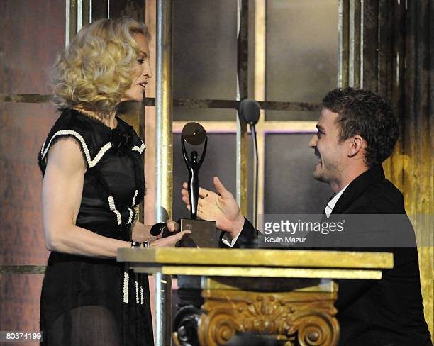 Musician Madonna and Musician Justin Timberlake on stage at the 23rd Annual Rock and Roll Hall of Fame Induction Ceremony on March 10 2008 in New...