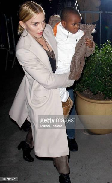 Musician Madonna and son David Banda arrive at the Kabbalah Center on November 21 2008 in New York City