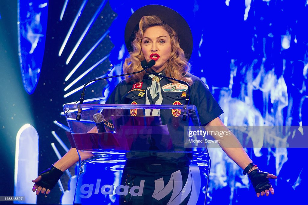 Musician Madonna attends the 24th annual GLAAD Media awards at The New York Marriott Marquis on March 16, 2013 in New York City.