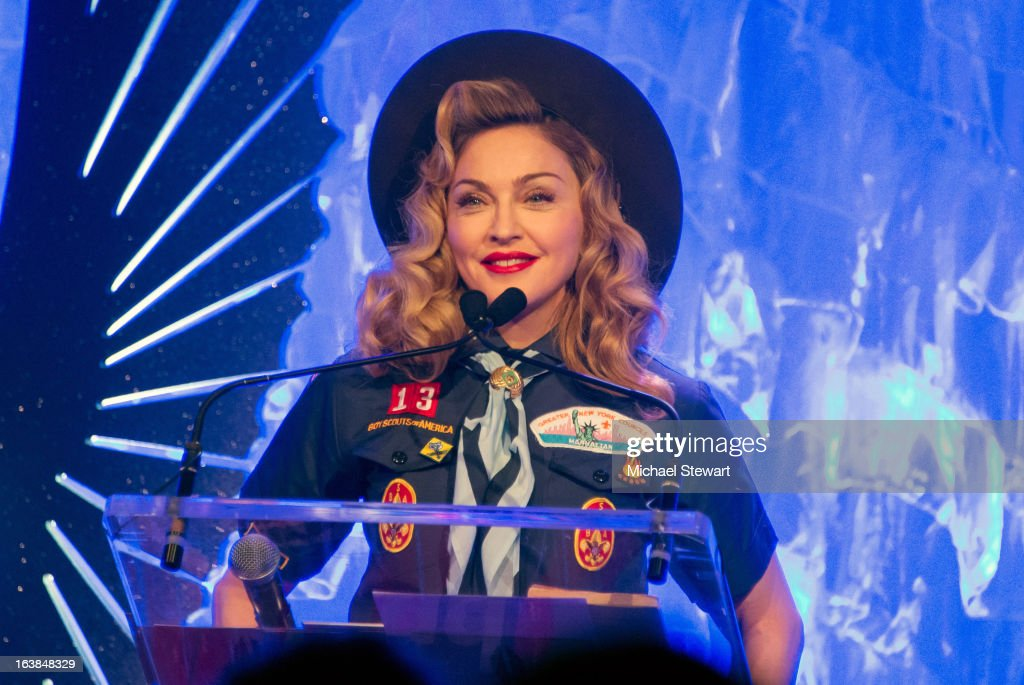 Musician <a gi-track='captionPersonalityLinkClicked' href=/galleries/search?phrase=Madonna+-+Singer&family=editorial&specificpeople=156408 ng-click='$event.stopPropagation()'>Madonna</a> attends the 24th annual GLAAD Media awards at The New York Marriott Marquis on March 16, 2013 in New York City.