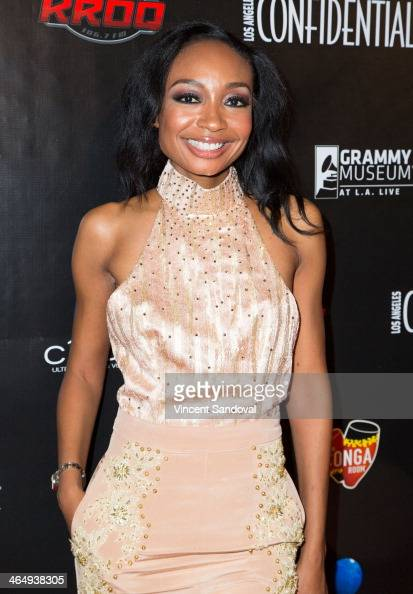 Musician Malina Moye attends the Los Angeles Confidential Grammy Party with Robin Thicke at The Conga Room at LA Live on January 24 2014 in Los...