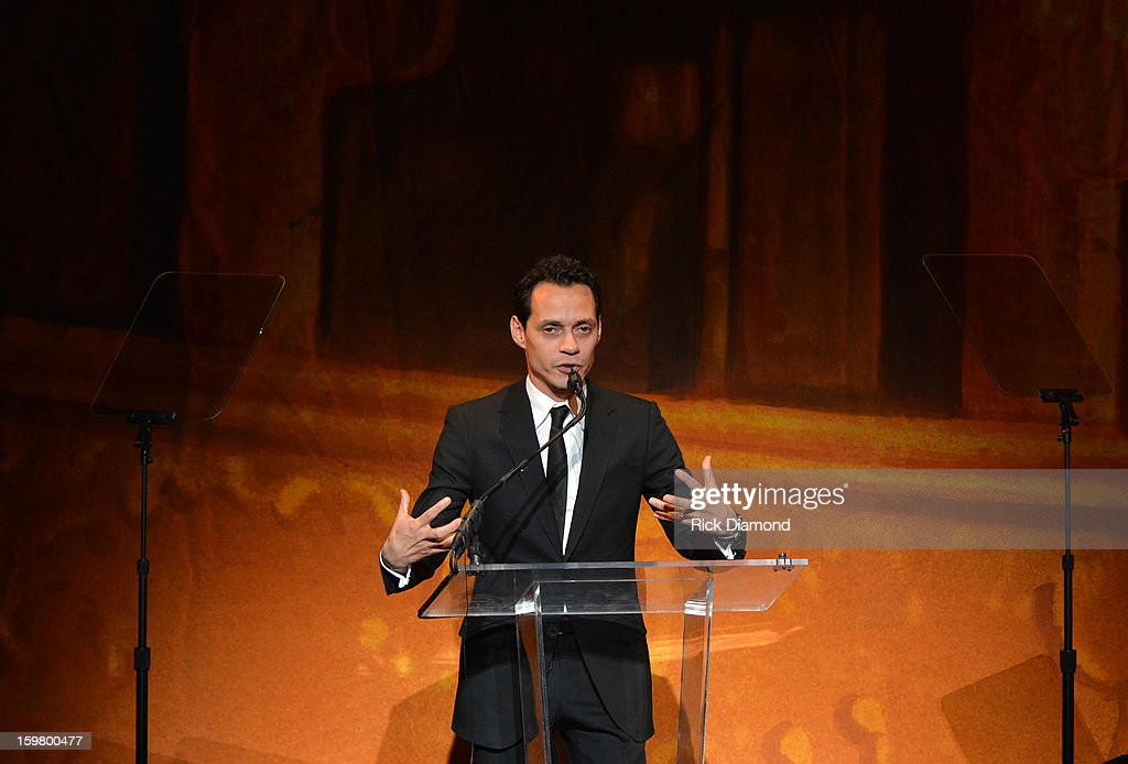 Musician <a gi-track='captionPersonalityLinkClicked' href=/galleries/search?phrase=Marc+Anthony&family=editorial&specificpeople=202544 ng-click='$event.stopPropagation()'>Marc Anthony</a> speaks at Latino Inaugural 2013: In Performance at Kennedy Center at The Kennedy Center on January 20, 2013 in Washington, DC.