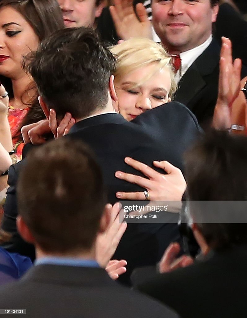 Musician Marcus Mumford and actress Carey Mulligan attend the 55th Annual GRAMMY Awards at STAPLES Center on February 10 2013 in Los Angeles...