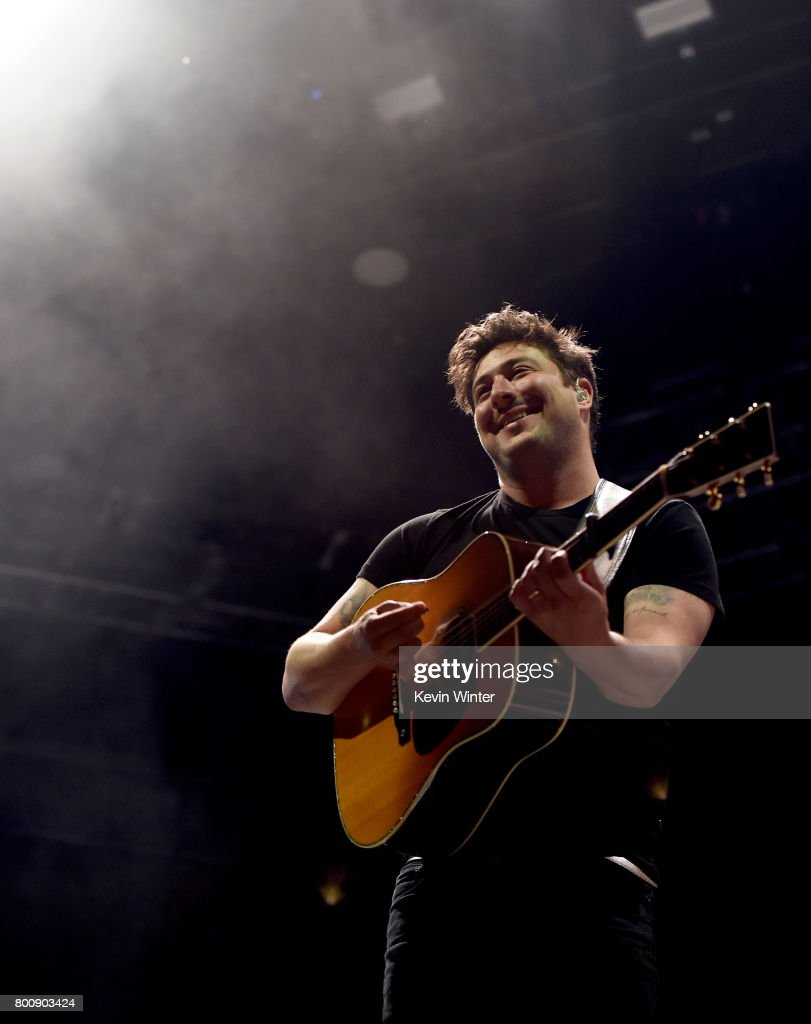 Musician Marcus Mumford of musical group Mumford & Sons performs on The Oak stage during Arroyo Seco Weekend at the Brookside Golf Course at on June 25, 2017 in Pasadena, California.