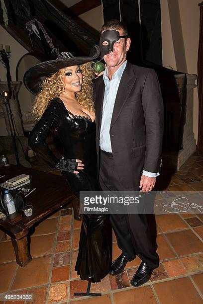Musician Mariah Carey and James Packer appear at Mariah Carey's Festive Halloween Party at her Beverly Hills Airbnb home on October 31 2015 in Los...