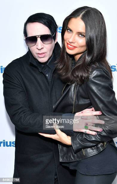 Musician Marilyn Manson and model Adriana Lima visit SiriusXM Studios on September 19 2017 in New York City