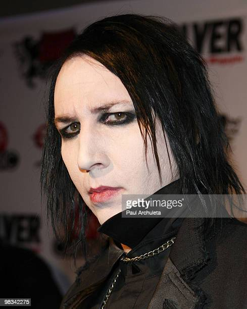 Musician Marilyn Manson arrives at the 2nd annual Revolver Golden Gods Awards at Club Nokia on April 8 2010 in Los Angeles California