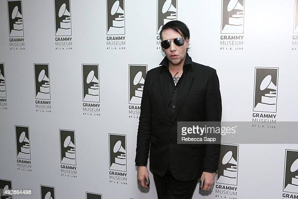 Musician Marilyn Manson attends An Evening With Marilyn Manson And Tyler Bates at The GRAMMY Museum on October 15 2015 in Los Angeles California