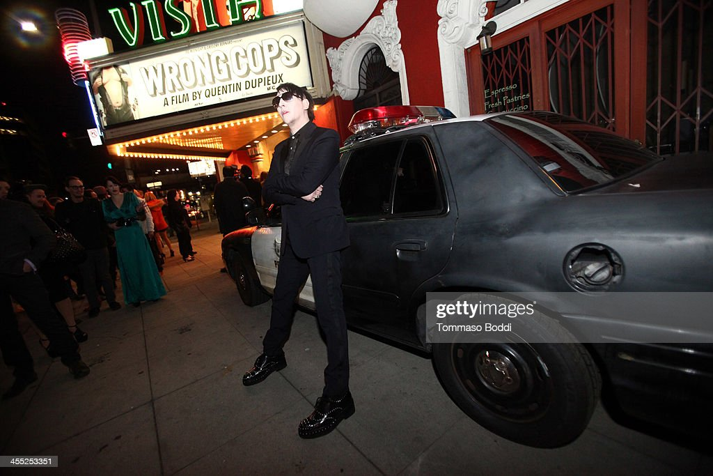 Musician <a gi-track='captionPersonalityLinkClicked' href=/galleries/search?phrase=Marilyn+Manson&family=editorial&specificpeople=208980 ng-click='$event.stopPropagation()'>Marilyn Manson</a> attends the GenArt Screening Series presents 'Wrong Cops' held at the Vista Theatre on December 11, 2013 in Los Angeles, California.