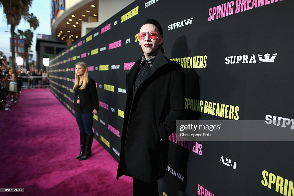 Musician <a gi-track='captionPersonalityLinkClicked' href=/galleries/search?phrase=Marilyn+Manson&family=editorial&specificpeople=208980 ng-click='$event.stopPropagation()'>Marilyn Manson</a> attends the 'Spring Breakers' premiere at ArcLight Cinemas on March 14, 2013 in Hollywood, California.