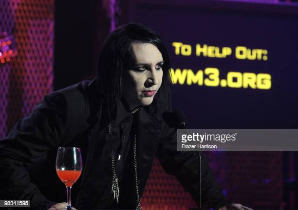 Musician Marilyn Manson on stage at the 2nd annual Revolver Golden Gods Awards held at Club Nokia on April 8 2010 in Los Angeles California on April...