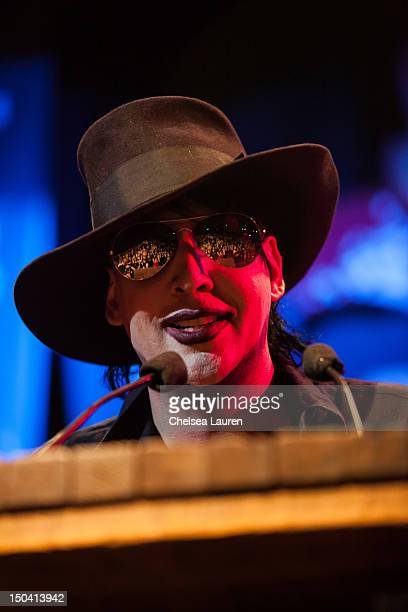 Musician Marilyn Manson speaks at the 5th Annual Sunset Strip Music Festival launch with a celebration of The Doors at House of Blues Sunset Strip on...