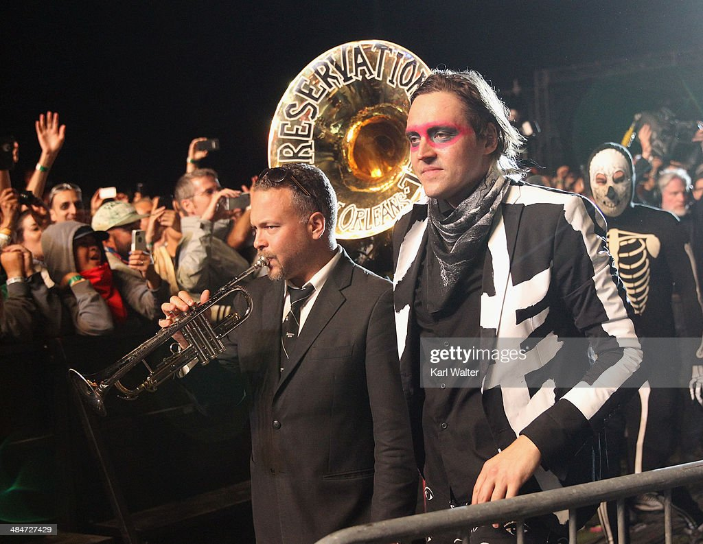 Musician Mark Braud of Preservation Hall Jazz Band (L) performs with Win Butler of Arcade Fire during day 3 of the 2014 Coachella Valley Music & Arts Festival at the Empire Polo Club on April 13, 2014 in Indio, California.