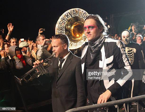 Musician Mark Braud of Preservation Hall Jazz Band performs with Win Butler of Arcade Fire during day 3 of the 2014 Coachella Valley Music Arts...