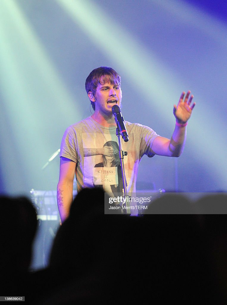 Musician Mark Foster of Foster the People performs onstage during Tesla Worldwide Debut of Model X on February 9, 2012 in Los Angeles, California.