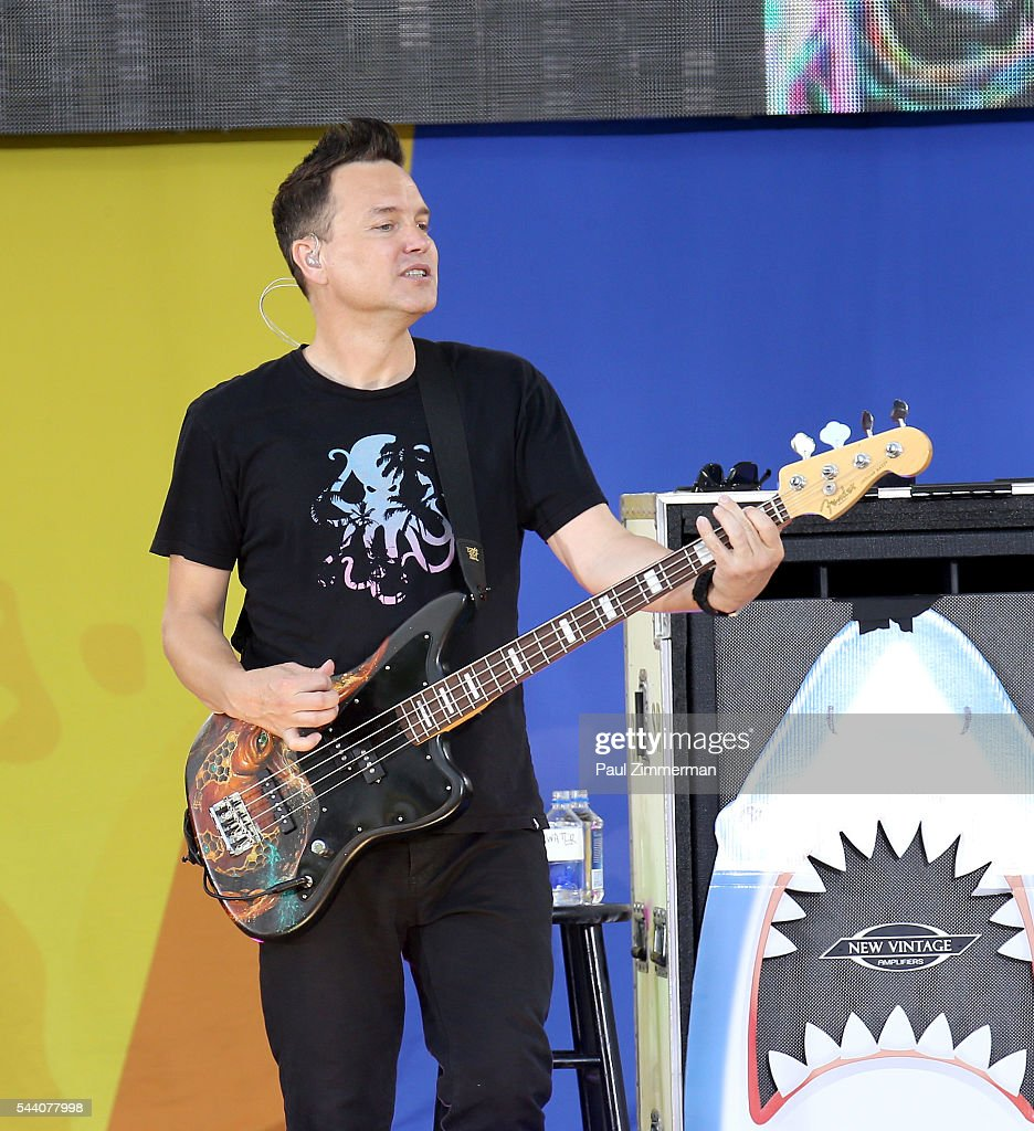 Musician Mark Hoppus of band Blink 182 performs On ABC's 'Good Morning America' at SummerStage at Rumsey Playfield, Central Park on July 1, 2016 in New York City.