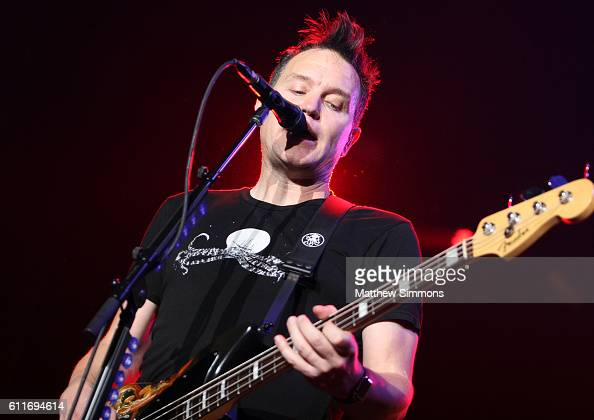 Musician Mark Hoppus of Blink182 performs onstage at The Forum on September 30 2016 in Inglewood California