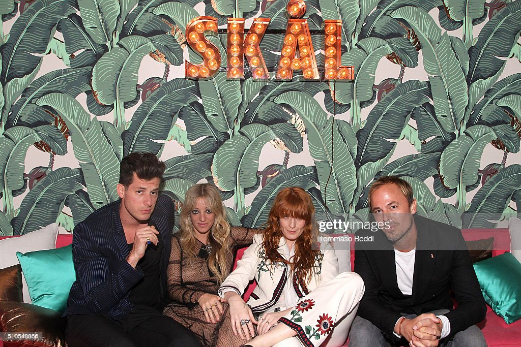 Musician Mark Ronson, guest, musician Florence Welch and Absolut Elyx CEO Jonas Tahlin attend the Absolut Elyx Hosts Mark Ronson's Grammy's Afterparty at Elyx House Los Angeles on February 15, 2016 in Los Angeles, California.
