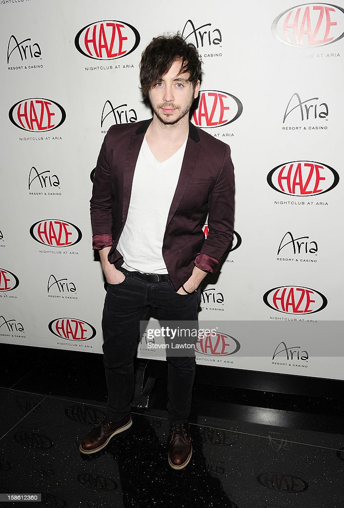 Musician Marty Shannon arrives for Jillian Rose Reed's 21st birthday celebration at Haze Nightclub at the Aria Resort & Casino at CityCenter on December 20, 2012 in Las Vegas, Nevada.