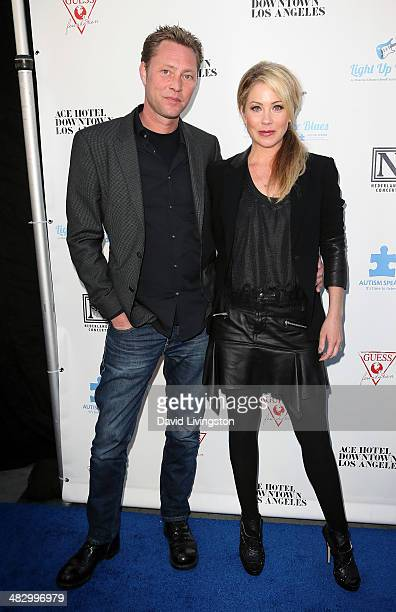 Musician Martyn LeNoble and wife actress Christina Applegate attend the 2nd Light Up The Blues Concert an evening of music to benefit Autism Speaks...