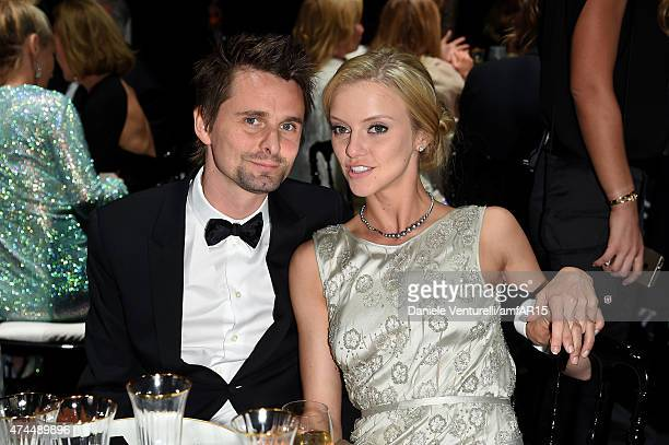 Musician Matt Bellamy and model Ella Evans attend amfAR's 22nd Cinema Against AIDS Gala Presented By Bold Films And Harry Winston at Hotel du...