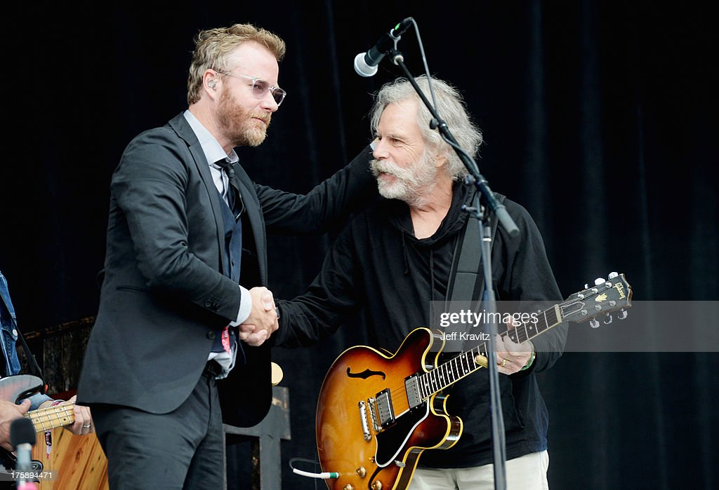 Musician <a gi-track='captionPersonalityLinkClicked' href=/galleries/search?phrase=Matt+Berninger&family=editorial&specificpeople=4334193 ng-click='$event.stopPropagation()'>Matt Berninger</a> (L) of The National and musician <a gi-track='captionPersonalityLinkClicked' href=/galleries/search?phrase=Bob+Weir&family=editorial&specificpeople=208877 ng-click='$event.stopPropagation()'>Bob Weir</a> of the Grateful Dead perform during day 1 of the 2013 Outside Lands Music and Arts Festival at Golden Gate Park on August 9, 2013 in San Francisco, California.