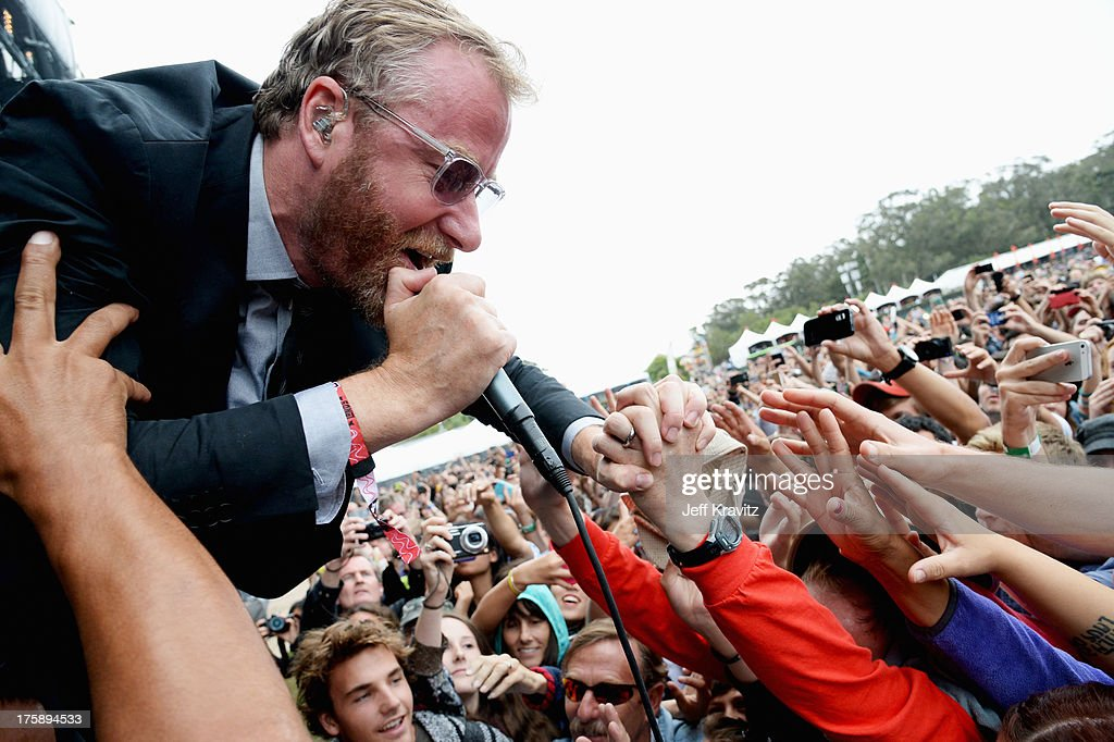 Musician <a gi-track='captionPersonalityLinkClicked' href=/galleries/search?phrase=Matt+Berninger&family=editorial&specificpeople=4334193 ng-click='$event.stopPropagation()'>Matt Berninger</a> of The National performs at the Lands End Stage during day 1 of the 2013 Outside Lands Music and Arts Festival at Golden Gate Park on August 9, 2013 in San Francisco, California.