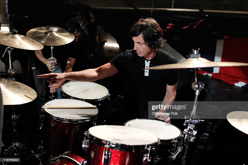 Musician Matt Flynn of the band Maroon 5 performs at the Maroon 5 Video Shoot for 'Moves Like Jagger' with Christina Aguilera on July 8, 2011 in Los Angeles, California.
