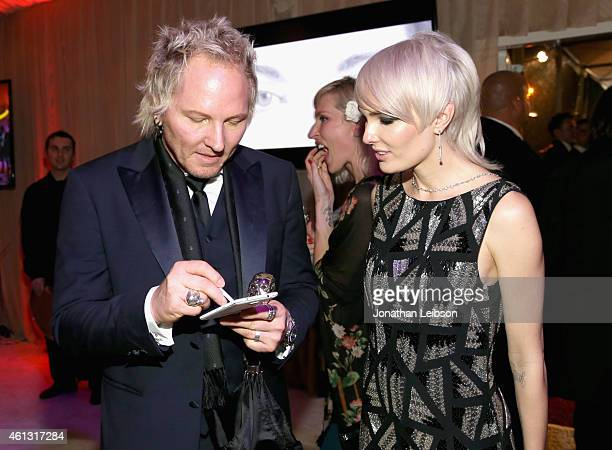 Musician Matt Sorum and Ace Harper attend the 8th Annual HEAVEN Gala presented by Art of Elysium and Samsung Galaxy at Hangar 8 on January 10 2015 in...