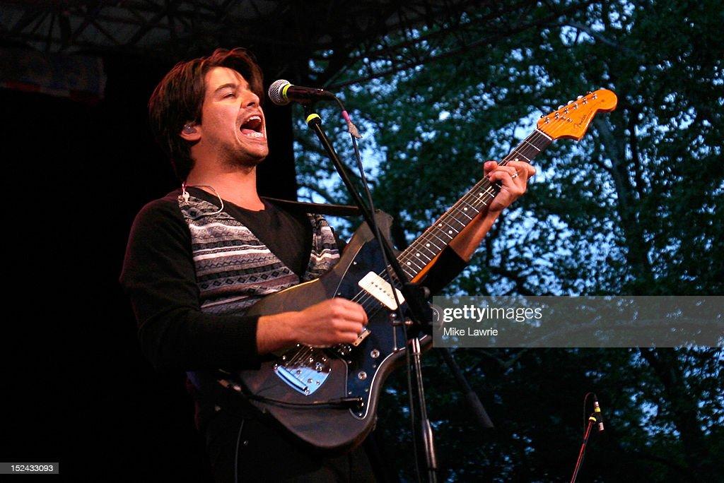 Musician Matt Vasquez of Delta Spirit performs at SummerStage at Rumsey Playfield, Central Park on September 20, 2012 in New York City.