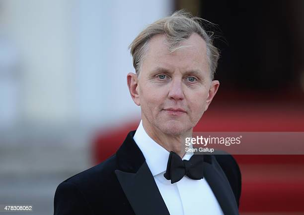 Musician Max Raabe arrives for the state banquet in honour of Queen Elizabeth II at Schloss Bellevue palace on the second of the royal couple's...
