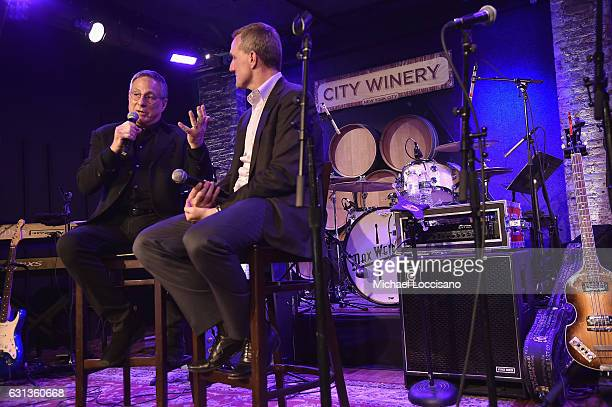 Musician Max Weinberg and General Manager JPMorgan Chase Card Services David Gold speak onstage at an event hosted by Inside Access from Chase to...