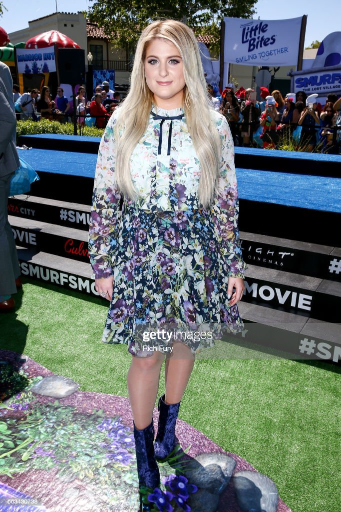 Musician Meghan Trainor arrives at the premiere of Sony Pictures' 'Smurfs: The Lost Village' at ArcLight Cinemas on April 1, 2017 in Culver City, California.