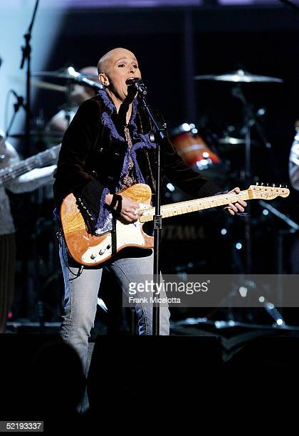Musician Melissa Etheridge performs Janis Joplin's 'Piece Of My Heart' on stage during the 47th Annual Grammy Awards at Staples Center February 13...