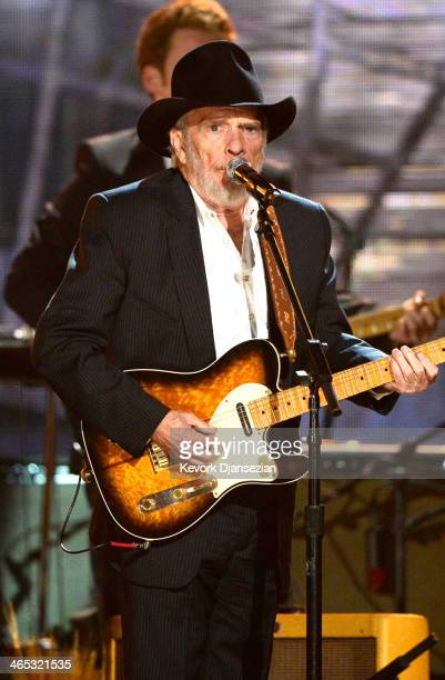 Musician Merle Haggard performs onstage during the 56th GRAMMY Awards at Staples Center on January 26 2014 in Los Angeles California