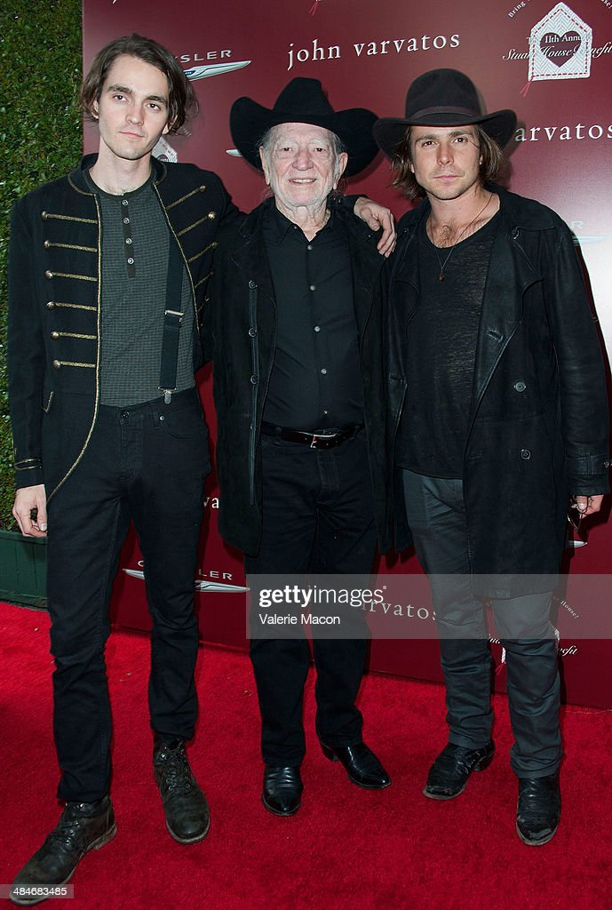 Musician Micah Nelson musician Willie Nelson and musician Lukas Nelson arrive at the 11th Annual John Varvatos Stuart House Benefit at John Varvatos...