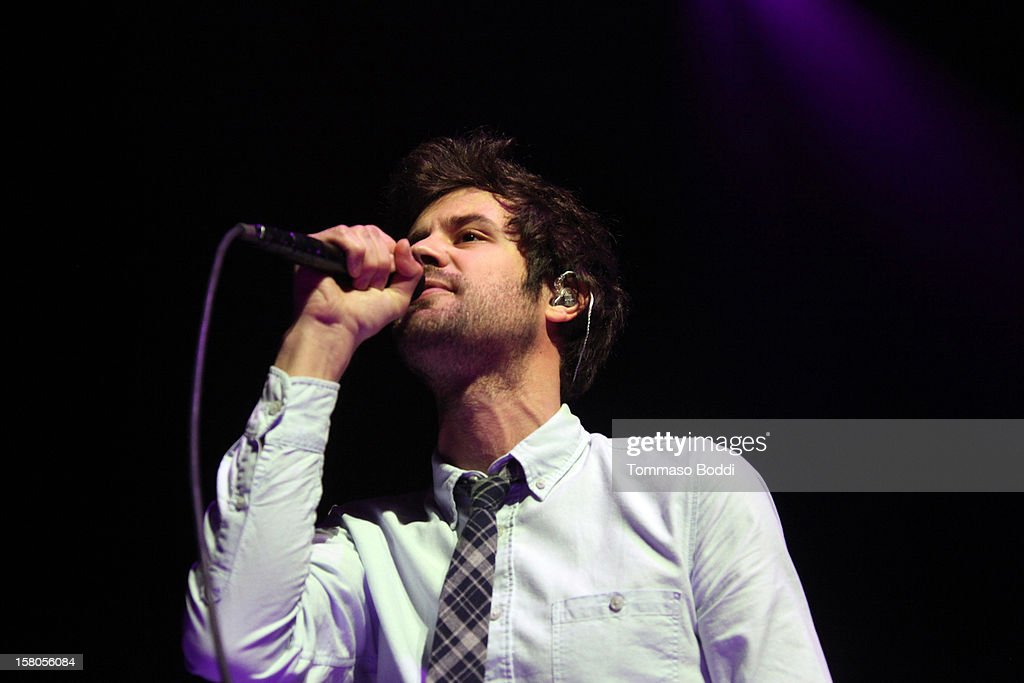 Musician Michael Angelakos of Passion Pit performs at the KROQ's Acoustic Christmas held at the Gibson Amphitheatre on December 9, 2012 in Universal City, California.