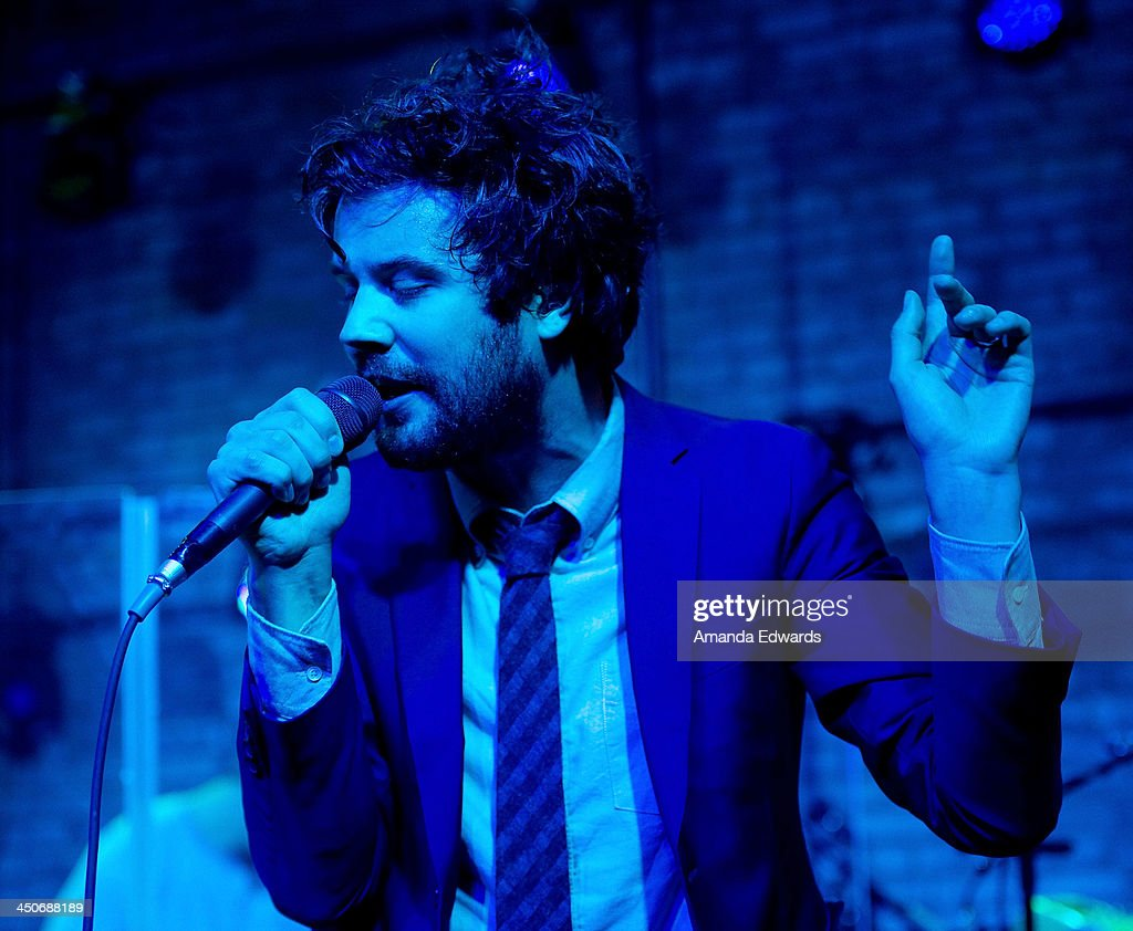 Musician <a gi-track='captionPersonalityLinkClicked' href=/galleries/search?phrase=Michael+Angelakos&family=editorial&specificpeople=5735300 ng-click='$event.stopPropagation()'>Michael Angelakos</a> of the band Passion Pit performs onstage at the MINI Cooper red carpet premiere on November 19, 2013 in Los Angeles, California.