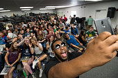 Musician Michael 'Big Mike' Hart takes a selfie before talking to students during the GRAMMY Signature School Career Day at Rio Americano High School...
