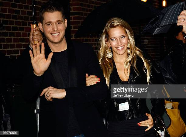 Musician Michael Bubble' and wife Luisana Loreley Lopilato de la Torre visit 'Late Show With David Letterman' at the Ed Sullivan Theater on March 22...