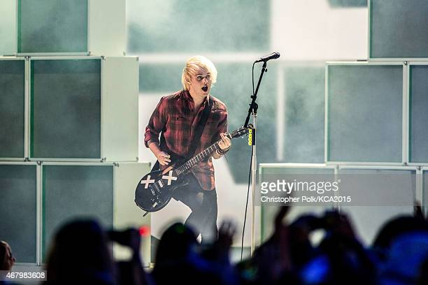Musician Michael Clifford of 5 Seconds of Summer performs at Nickelodeon's 28th Annual Kids' Choice Awards held at The Forum on March 28 2015 in...