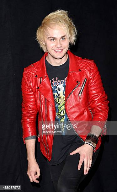 Musician Michael Clifford of 5 Seconds of Summer poses in the press room during the 2015 iHeartRadio Music Awards which broadcasted live on NBC from...
