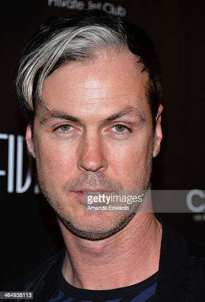 Musician Michael Fitzpatrick of Fitz and The Tantrums arrives at the Los Angeles Confidential Grammy Party with Robin Thicke at The Conga Room at LA...