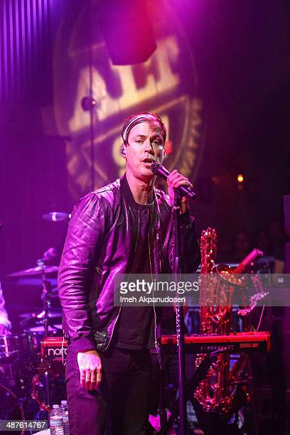 Musician Michael Fitzpatrick of Fitz And the Tantrums performs a secret show at The Sayers Club on April 30 2014 in Hollywood California